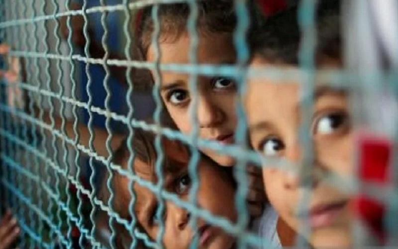 Anak-anak Palestina, yang meninggalkan rumah mereka untuk menghindari serangan udara dan artileri Israel, melihat melalui jendela sekolah yang dikelola PBB tempat mereka mengungsi di Kota Gaza, Selasa (18/5/2021). - Antara/Reuters