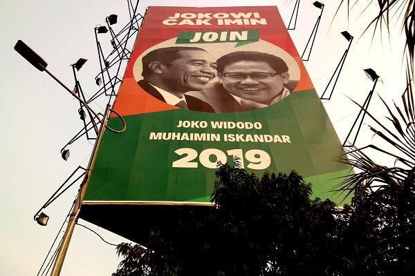 Papan reklame wacana duet Joko Widodo-Muhaimin Iskandar (Join) berdiri di Jln. Gatot Subroto, Jakarta, Rabu (25/7/2018). - Bisnis.com/Samdysara Saragih