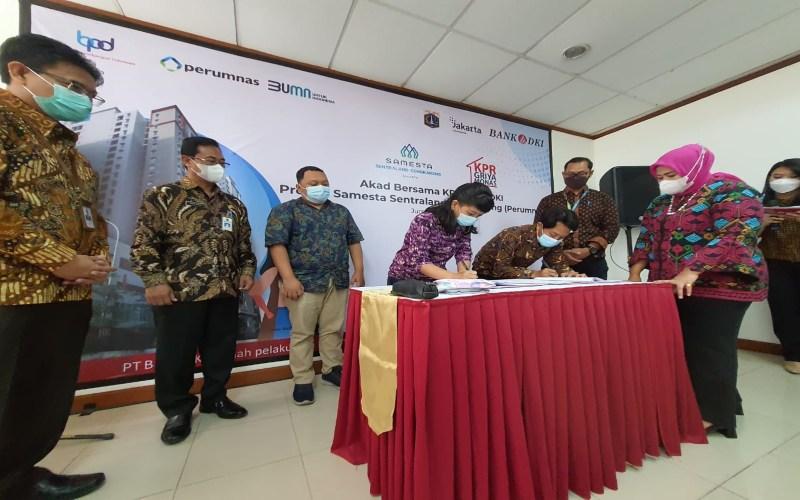 Bank DKI dan Perumnas menandatangani akad bersama KPR untuk program Rumah Dp 0 Rupiah  -  Bank DKI