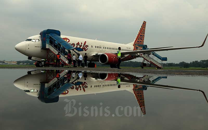 Pesawat Batik Air di Bandara Halim Perdana Kusuma, Jakarta, Rabu (14/2/2019). Bisnis - Nurul Hidayat