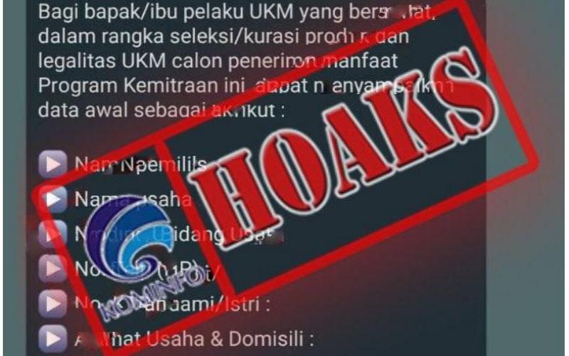 Hoaks pesan Whatsapp yang berisi penawaran program kemitraan PT Pertamina. - Kominfo
