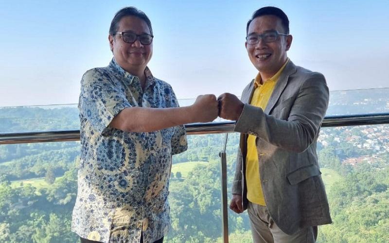 Pertemuan internal antara Airlangga Hartarto-Ridwan Kamil hari ini di Hotel Intercontinental, Bandung, Jawa Barat. - Istimewa