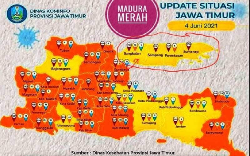 Situasi kasus Covid-19 di Jawa Timur per 4 Juni 2021. JIBi - Bisnis/Nancy Junita @panduriono1