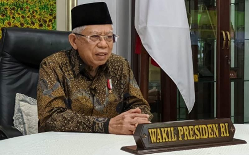 Wakil Presiden Ma'ruf Amin memberikan sambutan pada acara Bedah Buku