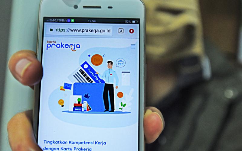 Kolom pendaftaran pada laman prakerja.go.id, Sabtu (8/8/2020) - ANTARA