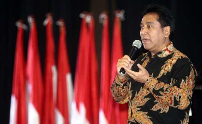 Ketua Umum Perhimpunan Hotel dan Restoran Indonesia (PHRI) Hariyadi Sukamdani memberikan pemaparan visi misinya pada musyawarah nasional PHRI XVII di Karawang, Jawa Barat, Senin (10/2/2020).  - Bisnis/Triawanda Tirta Aditya