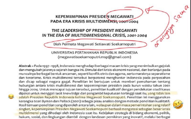 Cuplikan tulisan ilmiah karya Megawawati Soekarnoputri di Jurnal Pertahanan dan Bela Negara volume 11, Nomor 1 tahun 2021 milik Universitas Pertahanan. - Twitter @sociotalker