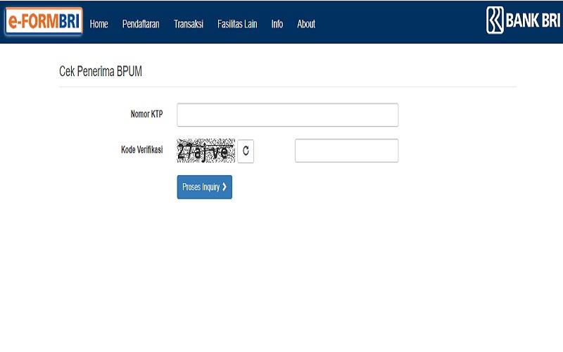 situs eform.bri.co.id/bpum untuk mengecek status pencairan BLT UMKM Rp1,2 juta via BRI - tangkapan layar eform.bri.co.id