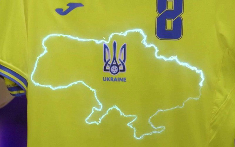 Peta Ukraina yang memasukkan Krimea di jersey Timnas Ukraina. - Facebook Ketua Asosiasi Sepak Bola Ukraina Andriy Pavelko