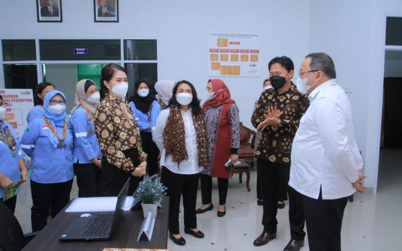 Menteri Pemberdayaan Perempuan dan Perlindungan Anak (PPPA) Bintang Puspayoga (tengah) saat meninjau rumah perlindungan pekerja perempuan di Kabupaten Musi Banyuasin.  - Istimewa