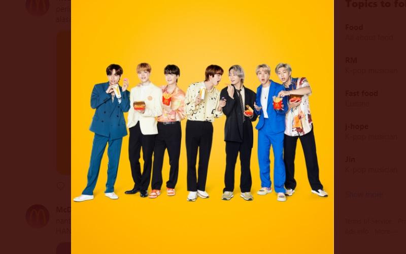 BTS, Kpop Idol asal Korea Selatan, merilis menu kolaborasi dengan McDonalds, yaitu BTS Meal - Twitter: Mcdonalds_ID