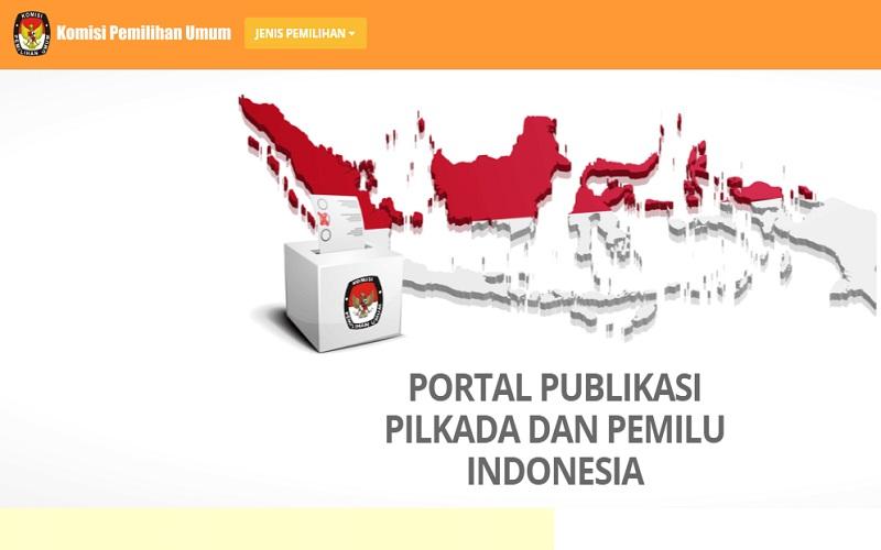 Akses situs KPU RI untuk mengecek penghitungan suara atau real count Pilkada Serentak 2020 di 270 wilayah di Indonesia  -  Sumber: KPU RI