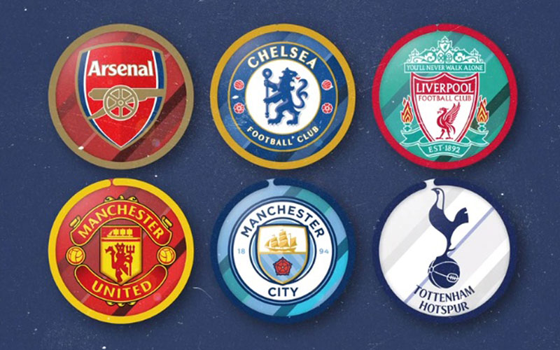 Logo enam klub Liga Primer Inggris eks Liga Super Eropa. - BBC