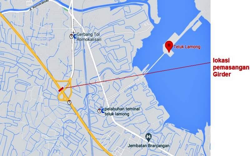Lokasi pemasangan girder pada ruas tol Surabaya-Gresik Km 9 mulai 11 Juni s.d. 15 Juni 2021. - Istimewa