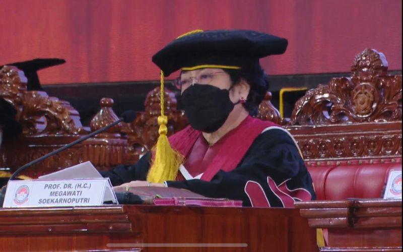 Megawati Soekarnoputri di Sidang Senat Terbuka Pengukuhan Guru Besar Tidak Tetap dari Universitas Pertahanan RI, Jumat 11 Juni 2021 / Tangkapan layar youtube PDI Perjuangan