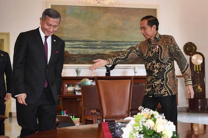 Presiden Joko Widodo (kanan) menerima kunjungan Menteri Luar Negeri Singapura Vivian Balakrishnan di Istana Bogor, Jawa Barat, Rabu (17/7/2019). Pertemuan tersebut membahas peningkatan kerja sama Indonesia - Singapura serta persiapan pertemuan tahunan pemimpin kedua negara. ANTARA FOTO/Wahyu Putro A