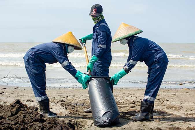 """Petugas mengumpulkan tumpahan minyak mentah yang tercecer di Pesisir Pantai Mekarjaya, Karawang, Jawa Barat, Kamis (8/8). Pertamina telah berhasil mengatasi tumpahan minyak mentah dengan mengumpulkan 1,047 juta karung shoreline yang mencapai 4900 ton dengan rata-rata 4,6 kg per karung berisi maksimal 10 persen minyak mentah """"Oil Spill"""", yang selebihnya pasir dan batu. Antara/M Ibnu Chazar"""