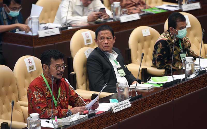 Menteri Pertanian Syahrul Yasin Limpo (kiri) mengikuti rapat kerja dengan Komisi IV DPR di Kompleks Parlemen, Senayan, Jakarta, Selasa (7/7/2020). Rapat itu membahas program strategis kementrian dalam rangka percepatan pemulihan ekonomi dampak COVID-19. ANTARA FOTO/Akbar Nugroho Gumay