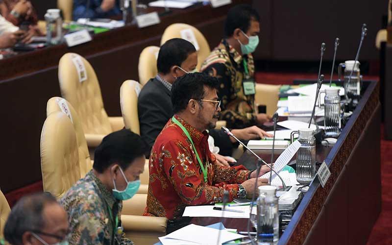 Menteri Pertanian Syahrul Yasin Limpo (kedua kiri) mengikuti rapat kerja dengan Komisi IV DPR di Kompleks Parlemen, Senayan, Jakarta, Selasa (7/7/2020). Rapat itu membahas program strategis kementrian dalam rangka percepatan pemulihan ekonomi dampak COVID-19. ANTARA FOTO/Akbar Nugroho Gumay