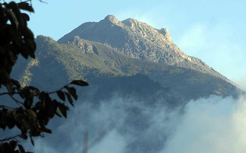 Suasana Gunung Merapi yang terlihat dari kawasan Selo, Boyolali, Jawa Tengah, Rabu (8/7/2020). Bedasarkan data pengamatan Balai Penyelidikan dan Pengembangan Teknologi Kebencanaan Geologi (BPPTKG), pascaerupsi Gunung Merapi pada 21 Juni 2020 terjadi peningkatan deformasi atau perubahan tubuh Gunung Merapi sebesar 0,5 sentimeter per hari. ANTARA FOTO/Aloysius Jarot Nugroho