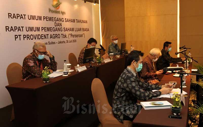 Suasana Rapat Umum Pemegang Saham Tahunan dan Luar Biasa (RUPST dan RUPSLB) PT Provident Agro Tbk. (PALM) di Jakarta, Kamis (30/7/2020). Bisnis/Arief Hermawan P