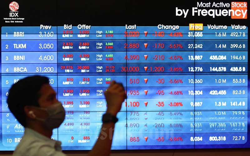 Pengunjung melihat papan elektronik yang menampilkan pergerakan Indeks Harga Saham Gabungan (IHSG) di Bursa Efek Indonesia, Jakarta, Senin (3/8/2020). Pada penutupan perdagangan awal pekan, IHSG ditutup  melemah 2,78 persen atau 143,4 poin ke level 5.006,22. Bisnis/Eusebio Chrysnamurti