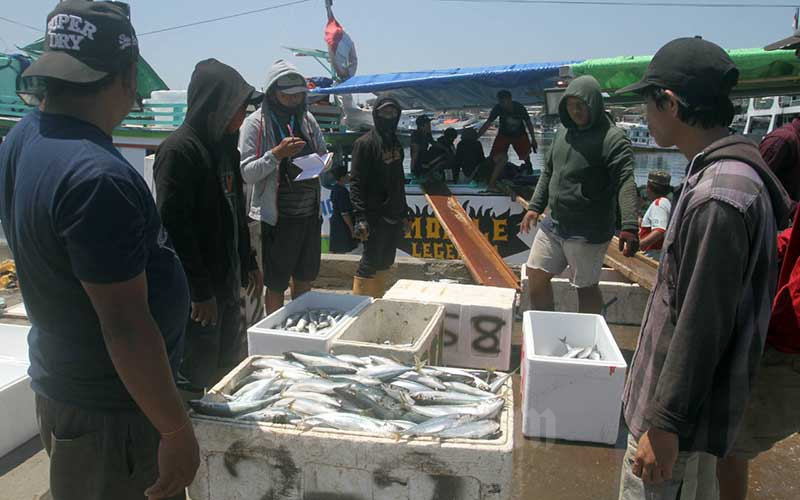 Pekerja memindahkan ikan dari kapal untuk didistribusikan ke pelanggan di Makassar, Sulawesi Selatan, Rabu (16/9/2020). Realisasi investasi penanaman modal asing (PMA) sampai dengan triwulan II/2020, di sektor kelautan dan perikanan didominasi enam negara, di antaranya adalah China, Singapura, Thailand, India, dan Jepang, senilai Rp987,15 miliar. Bisnis/Paulus Tandi Bone