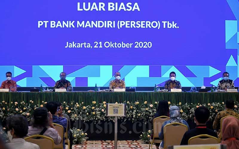 Suasana Rapat Umum Pemegang Saham Luar Biasa (RUPS LB) Bank Mandiri di Jakarta, Rabu (21/10/2020). RUPS LB memilih Darmawan Junaidi sebagai Direktur Utama Bank Mandiri menggantikan Royke Tumilaar. Bisnis/Abdurachman