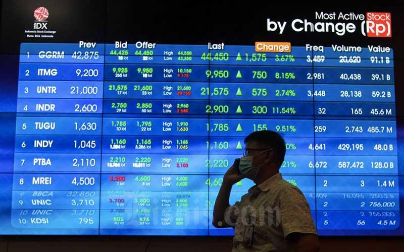 Karyawan mengamati pergerakan saham di galeri PT Bursa Efek Indonesia (BEI), Jakarta, Kamis (19/11/2020). Indeks Harga Saham Gabungan (IHSG) ditutup menguat 0,66 persen ke level 5.594,05 pada akhir perdagangan Kamis (19/11), pasca Rapat Dewan Gubernur (RDG) Bank Indonesia memutuskan untuk menurunkan suku bunga BI 7-Day Reverse Repo Rate (BI7DRR) sebesar 25 basis poin menjadi 3,75 persen. Bisnis/Arief Hermawan P