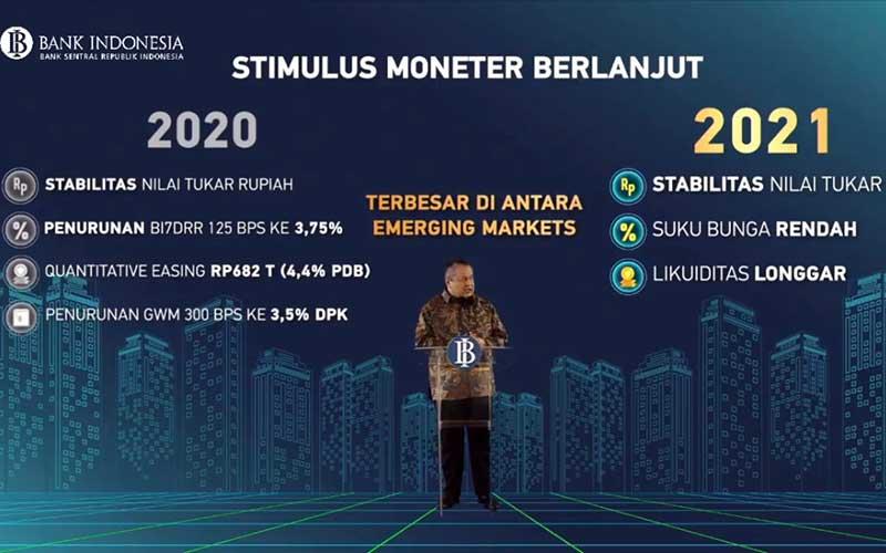 Gubernur Bank Indonesia Perry Warjiyo memaparkan materi saat acara Pertemuan Tahunan Bank Indonesia 2020 di Jakarta, Kamis (3/12/2020). Dalam acara yang digelar secara virtual tersebut mengangkat tema Bersinergi Membangun Optimisme Pemulihan Ekonomi. Bisnis