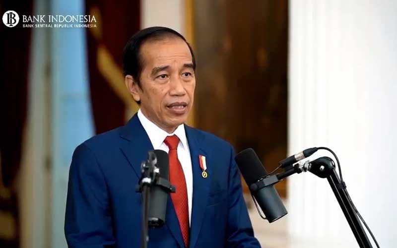 Presiden Joko Widodo menyampaikan sambutan saat acara Pertemuan Tahunan Bank Indonesia 2020 di Jakarta, Kamis (3/12/2020). Dalam acara yang digelar secara virtual tersebut mengangkat tema Bersinergi Membangun Optimisme Pemulihan Ekonomi. Bisnis