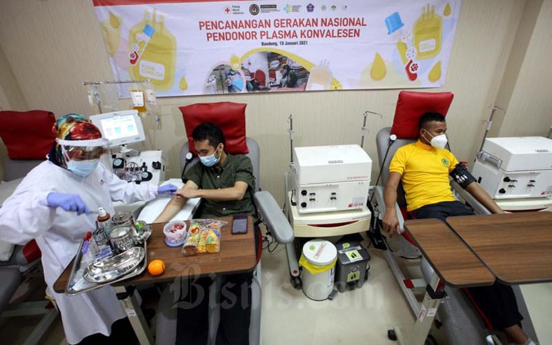 Petugas Palang Merah Indonesia (PMI) Kota Bandung melakukan proses pengambilan plasma darah dari penyintas Covid-19 yang menjadi pendonor di kantor PMI Kota Bandung, Jawa Barat, Selasa, (19/1/2021). Saat ini minat penyintas Covid-19 mendonorkan plasma konvalesennya tergolong rendah. PMI Pusat mencatat jumlah calon pendonor plasma konvalesen hanya 5-10% dari total jumlah pasien yang sembuh secara nasional. Bisnis/Rachman