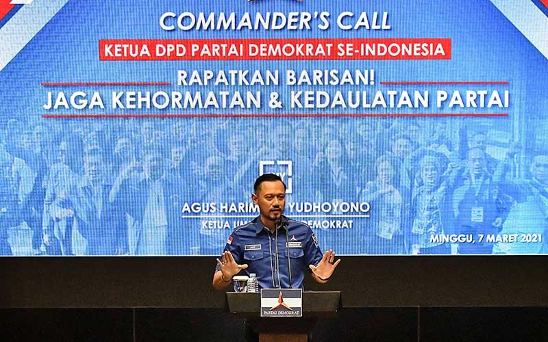 Ketua Umum Partai Demokrat Agus Harimurti Yudhoyono (AHY) menyampaikan keterangan kepada wartawan usai rapat dengan Ketua DPD Partai Demokrat se-Indonesia terkait Kongres Luar Biasa (KLB) Partai Demokrat, Jakarta, Minggu (7/3/2021). Dari hasil rapat tersebut seluruh Ketua DPD Demokrat di 34 Provinsi menolak KLB yang berlangsung di Deli Serdang, Sumatera Utara dan tetap mendukung AHY sebagai Ketua Umum Partai Demokrat. ANTARA FOTO/ Fakhri Hermansyah