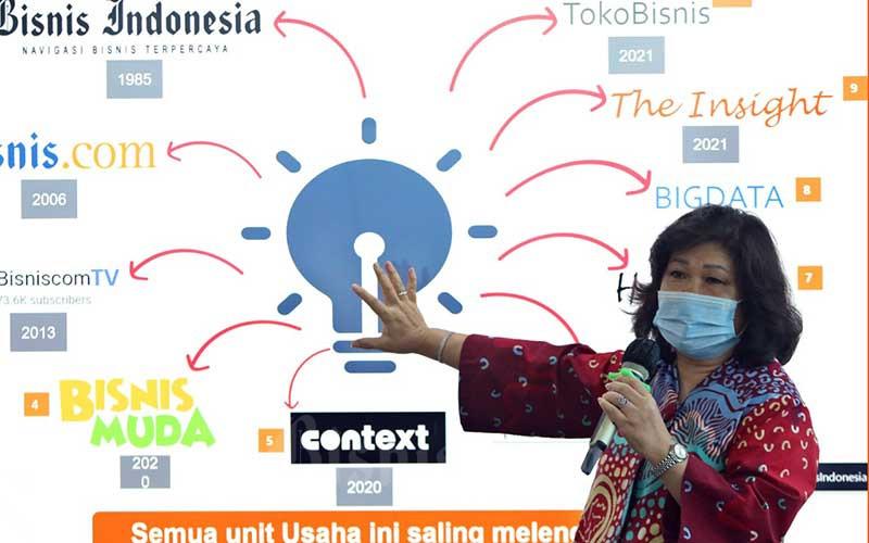 Presiden Direktur PT Jurnalindo Aksara Grafika penerbit Bisnis Indonesia Lulu Terianto memberikan sambutan saat peluncuran bisnisIndonesia.id dan hypeabis.id di Jakarta, Jumat (7/5/2021). Ditengah pandemi Covid-19 Bisnis Indonesia Group meluncurkan bisnisIndonesia.id dan hypeabis.id. Bisnis/Eusebio Chrysnamurti