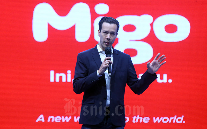 Global President MIGO, Chris Reynolds memberikan sambutan saat acara penandatanganan kerja sama di Jakarta, Kamis (10/6/2021). Bisnis/Abdullah Azzam