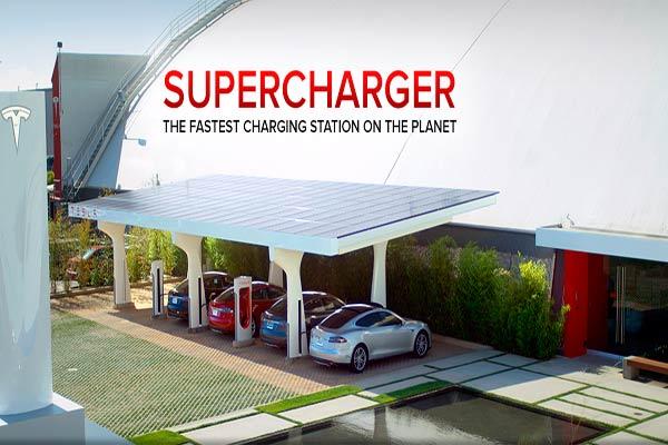 Stasiun pengisian baterai mobil listrik.  - Tesla Motor