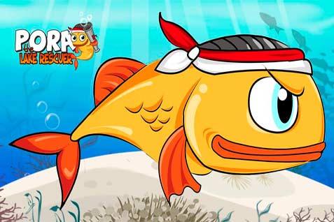 Bersenjatakan senapan yang mengeluarkan gelembung, ikan Pora-pora pun memerangi sampah. Demikian jalan cerita game Pora The Lake Rescuer.  - fb