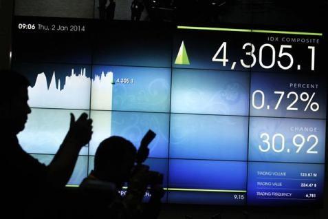 Indeks harga saham gabungan (IHSG) ditutup melemah 0,10% ke level 4.893,14 pada perdagangan Rabu (23/4/2014).  -  Bisnis.com