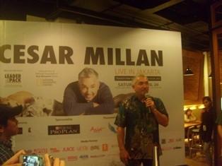 Cesar Millan tengah menerangkan disiplin untuk anjing pada wartawan