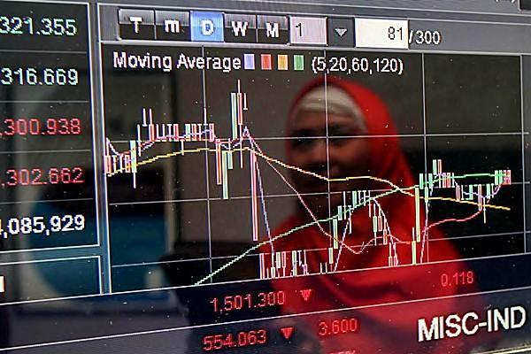 Pengunjung memantau perkembangan indeks harga saham gabungan (IHSG) , di salah satu kantor sekuritas di Jakarta. - JIBI/Endang Muchtar
