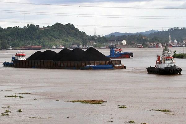 Kapal tongkang pengangkut batu bara melintasi sungai Mahakam, di Samarinda, Kalimantan Timur. - JIBI/Paulus Tandi Bone
