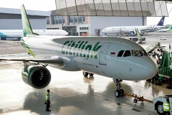 Pesawat Airbus A320 Neo milik maskapai Citilink di Hangar 4 GMF terparkir sesaat setelah penyambutan, Tangerang, Banten, Jumat (24/2). - Antara/Lucky R.