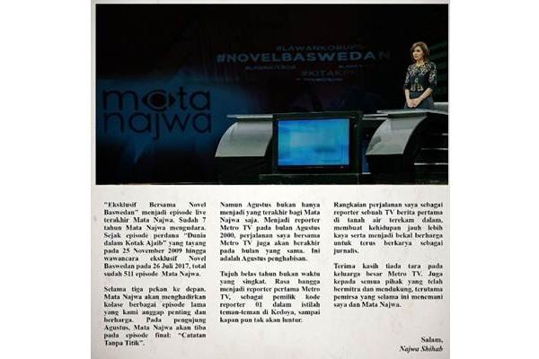 Pernyataan pamit Najwa Shihab - facebook