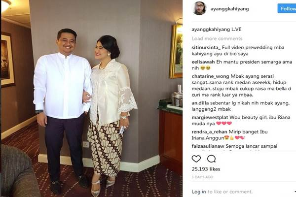 Kahiyang Ayu dan calon suaminya Bobby Nasution - Instagram @ayangkahiyang