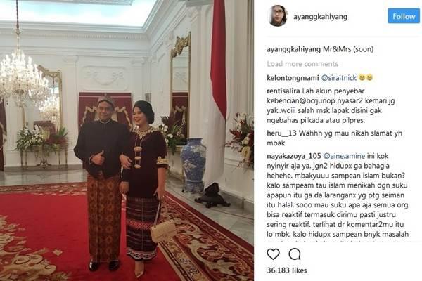 Kahiyang Ayu dan calon suaminya Bobby Nasution saat perayaan 17 Agustus di Istana - Instagram @ayangkahiyang