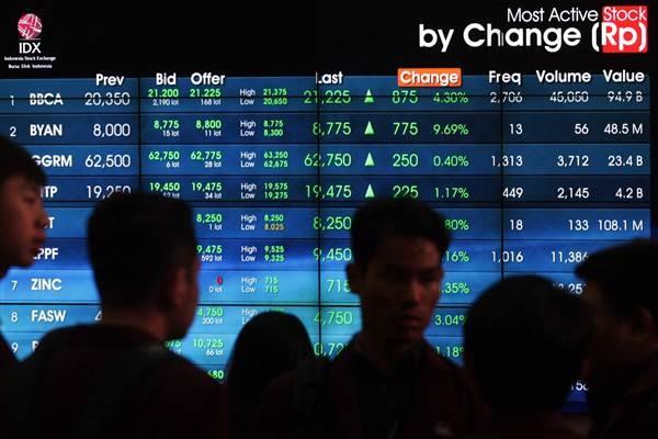 Pengunjung beraktivitas di dekat layar papan elektronik yang menampilkan indeks harga saham gabungan (IHSG) di kantor PT Bursa Efek Indonesia - JIBI/Dedi Gunawan