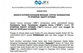 BBJ Bekukan Status Keanggotaan PT Starpeak Equity Futures (SEF)