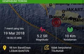 Getaran Gempa 5,2 SR di Lebak, Banten, Juga Terasa Hingga Sukabumi