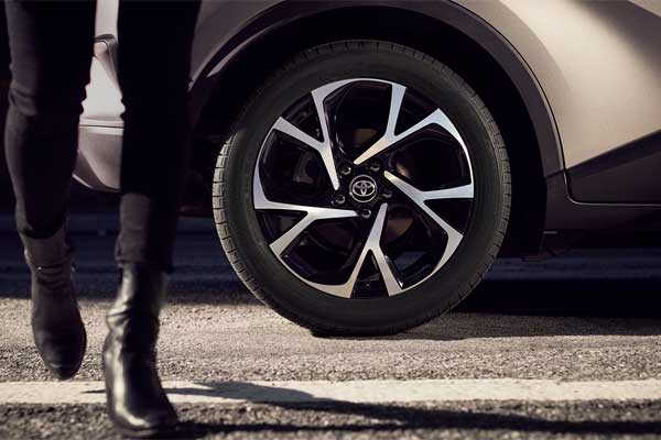 C-HR vortex/styled 18-in. Sport alloy wheels with P225-50R18 95V tires.  - Toyota