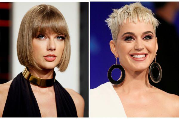 Taylor Swift (kiri) dan Katy Perry. - Reuters
